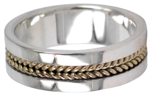 HAP017c, petr hanzak, plain twist wedding ring in sterling slver and 9ct yellow gold