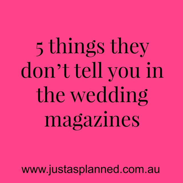 5 things they don't tell you in the wedding magazines